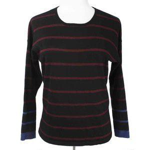 🍍VERVE AMI Black Striped Exposed Zipper Sweater